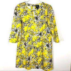 NWT eci Yellow Black Floral Keyhole Shift Dress